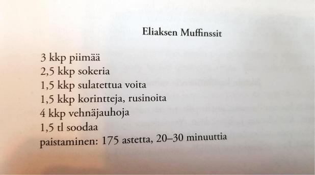 Resepti Miinan mökki Sammatissa -kirjasta